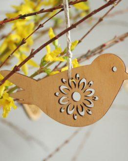drewniany ptaszek - zawieszka