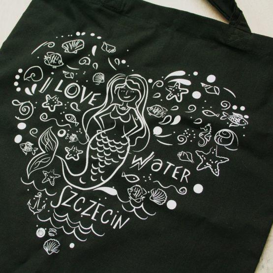 czarna torba na zakupy - lubię Szczecin