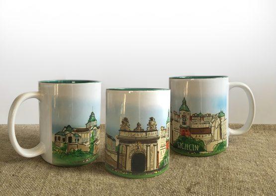 kubek z grafiką inspirowaną szczecińskimi zabytkami